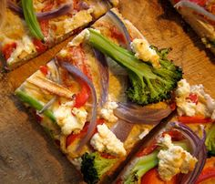 Hummus Vegetable Pizza. After you've made your hummus of choice, spread it on a flatbread, add veggies and then bake it like a pizza. . #SelfMagazine