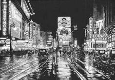Times Square 1932 - Scratchoard Art. Copyright Sue Walters 2015. Actual Size. I love old movies and history. Pictures of Times Square are like a snapshot of history as it stands at that given moment. This piece sure was a challenge but enjoyed it!