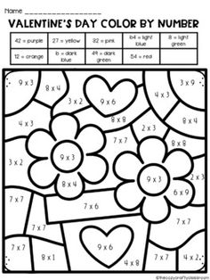 Valentine's Day Color by Number (Multiplication) Multiplication Facts, Math Fractions, Math Facts, Maths, Fifth Grade Math, Fourth Grade, Color By Number Printable, Math Word Walls, Math Classroom
