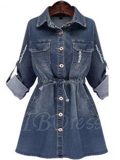 #TbDress - #TBDress Plus Size Denim Womens Day Dress - AdoreWe.com