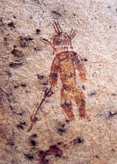 10,000 Year Old Rock Paintings Depicting Aliens and UFOs Found in Chhattisgarh [previous pinner]  I believe it depicts a shaman or even the one who did the petroglyph.