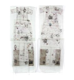 Gwen Samuels ~ Sisters | Childhood images printed on used dryer sheets sandwiched between printed transparency and fabric, hand-stitched | 40″h x 30″w gwensamuels.com