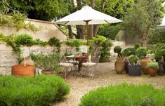 Topiary, container planting, gravel, outside seating area