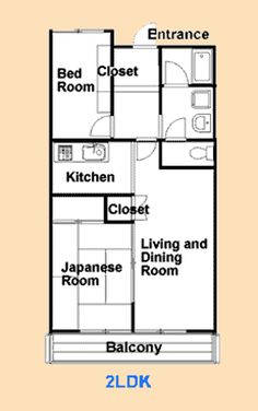 Apartment floor plan  Japanese _ I loved the fact that the Japanese do not put the toilets in with where you bathe, It remains separate.  Especially in a house, this comes in handy.