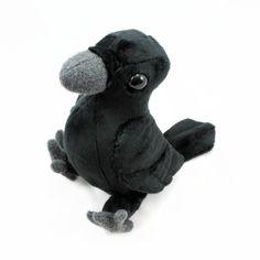 Crow / raven / bird ~ stuffed animal soft toy sewing pattern for fleece/plush, intermediate skill level, $7 pdf instructions | from BeeZeeArt shop @ Etsy