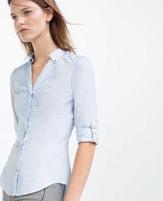 Image 4 of SHIRT WITH PLEATED YOKE from Zara