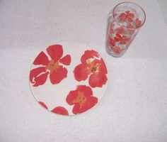 PBA-032715-004- Pottery Barn Graphic Garden Red Poppies Glass Tumbler and Salad Lunch Plate 2--- found these at a resale shop, 4 plates and 4 glasses $14!