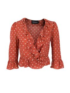 The Cher top in our Rust Spot print, is a cropped wrap style silk shirt. With ruffle details on the chest, waist and cuffs. Shop The Cher Rust Spot Online now. Polka Dot Crop Tops, Polka Dot Shirt, Polka Dots, French Riviera Style, Clothing Labels, Diy Clothing, Dressy Tops, Red Shirt, Silk Top