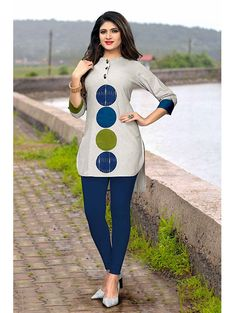 Traditional Kurtis - Shop New Design In Kurti @ Gunj Fashion Grey Color Flax Cotton Patch Work Traditional Kurtis Get this grey color patch work cotton kurti which is perfect for college wear. Couples African Outfits, African Fashion Ankara, Latest African Fashion Dresses, African Dresses For Women, African Print Dresses, African Print Fashion, Africa Fashion, African Attire, Ghana Fashion