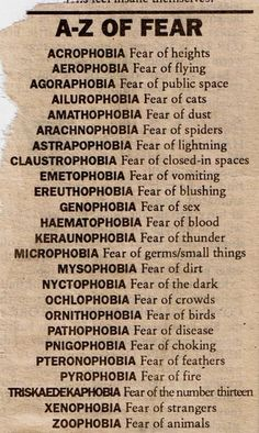 A to Z of Fears