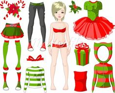 Christmasy paper doll