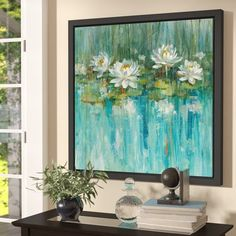 Charlton Home 'Water Lily Pond' by Danhui Nai Framed Painting Print Size: 36 H x 36 W x 2 D 612559986801818181 Water Lilies Painting, Lotus Painting, Lily Painting, Painting Frames, Painting Prints, Watercolor Painting, Pond Painting, Paintings, Lily Pond