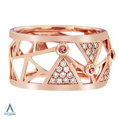 Isn't this geometric ring so trendy? We love rose gold! #Antandre This is our eros open bangle with diamond pyramids and pink tourmaline stones. (Scheduled via TrafficWonker.com)