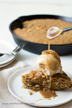 Gluten Free Oatmeal Skillet Cookie with Bourbon Butterscotch Sauce Easy Gluten Free Desserts, Gluten Free Recipes For Breakfast, Best Gluten Free Recipes, Allergy Free Recipes, Gluten Free Treats, Fun Easy Recipes, Gluten Free Breakfasts, Gluten Free Cookies, Healthy Dessert Recipes