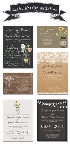 Chic Rustic Wedding Invitations for Country Wedding Ideas with Free RSVP Cards and Envelopes #weddinginvitations