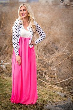 Secret Garden Maxi Dress...loving the pink and polkadots:) www.sexymodest.com #springstyle #fashion #cardigan #polkadots #maxidress