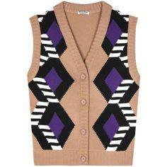 Miu Miu Wool Sweater Vest ($580) ❤ liked on Polyvore featuring outerwear, vests, miu miu, sweaters, vest, brown, wool waistcoat, brown vest, wool vest and brown waistcoat