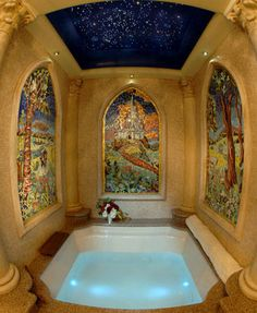 Stained glass surrounding tub....WOW!!!!