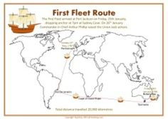 This resource includes 2 x A3 posters. 1. The First Fleet route2. A comparison of the size of the ships in the First Fleet to a Blue Whale and a basketball court.Australian CurriculuYear 4: Humanities and Social Sciences / History / Year 4 / Historical Knowledge and Understanding / First contacts / ACHHK079Please see preview to view full resource before purchasing.