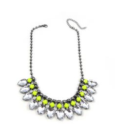Neon Yellow Teardrop Crystal Bib Statement Necklace