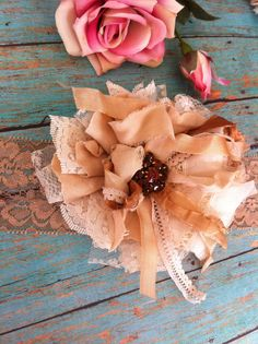 Tea Dyed Ivory Linen & Lace/ Bridal Hairpiece/ by DolledandDazzled