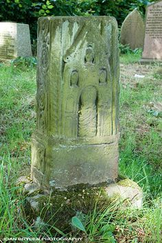 Anglo Saxon Cross base, St. Peter's Church, Heysham Village, Lancashire, England