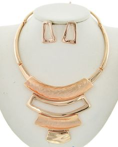 Rose Gold Tone  Graduating  Statement  Necklace & Earring Set #Unbranded