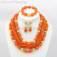 Orange African Nigerian Wedding Coral Beads Jewelry Set,African Wedding Beaded Jewelry,African Nigerian Beaded Coral Necklace.$59.8
