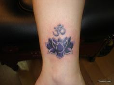 Free tattoo photo gallery, tattoo shops, tattoo designs, samples, and everything else you need to find the right tattoo. Purple Lotus Tattoo, Purple Tattoos, Lila Tattoos, Star Tattoos, Tatoos, Om Tattoos, Ankle Tattoo, Buddhist Symbol Tattoos, Palm Tattoos