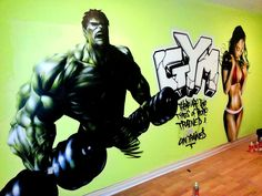 Futuristic Graffuty Gym Room Interior Design with Green Wall and Wooden Floor Idea