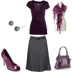 Dramatic Classic - Burgundy & grey by sm137 on Polyvore.  Love elements of this. (not the scarf)