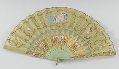 "A Romantically Styled Hand Fan    Apprx. 10-1/4""L, with shaped rococo style pale green and impressed gilt painted sticks with pictorial elements applied of ladies and gentlemen (chromolithographs), transparent silk hand decorated with pictures of ladies and gentlemen surrounded by gilt flourishes, pink and white flowers and hand sewn sequins. Probably ca. 1930."