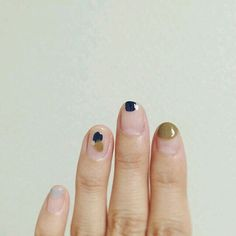 a fresh take on the minmalist manicure in navy, army green, and grey