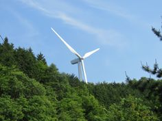 wind turbines located in the mountains of my town in Japan.19 June 2017.
