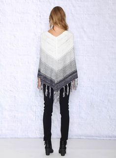 Navy Blue Ombre Poncho