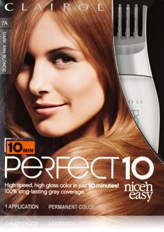 Clairol Perfect 10 By Nice 'N Easy Hair Color 7a Dark Ash Blonde 1 Kit. Permanent creme haircolor with patented PerfectColor Comb. Lasts up to 60 days. 100% gray coverage in just 10 minutes. A color infusion formula goes deep and penetrates each strand, for rich color, from the inside out. Includes ColorSeal Conditioning Gloss to help seal in rich, high gloss color. Rich, High Gloss color in just 10 minutes. Guaranteed or your Money Back*. *Satisfaction guaranteed or your money back. Call...