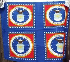 4X United States Air Force Pillow Fabric Panels 7/8 Yard Material Red White Blue #Unbranded