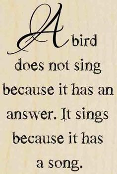 H293 A BIRD SINGS wood mounted Stampendous Rubber Stamp Maya Angelou quote