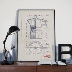Poster machine à café Moka Express Bialetti disponible sur SpilloDesign Shop sur Etsy