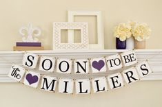 Engagement Party Decor, Soon to Be Banner, Engagement Party Ideas, Bridal Shower Decor, Couples Shower, Dark Purple Bridal Shower, B203