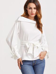 5457823d786d1 Barco Fold blanco cuello con cinturón de la cintura y el brazalete de la  blusa Domicilios