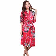 d2f9ca6786 Burgundy Chinese Fashion Trends Women s Silk Sleepwear Soft Lounge Robe  Nightgown Kimono Yukata Size S M L XL