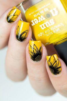 sunflower nail art, floral nail art
