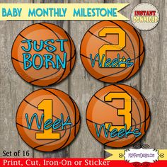 Basketball Baby Monthly Age Milestone Stickers / Iron Ons Instant Download, Digital Image,  DIY Onesie Iron On by M2MPartyDesigns on Etsy