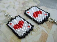 Beadwork Peyote Earrings Ace of Heart Beadwoven Seed Bead Beaded Handmade Fun