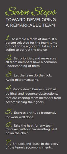 Seven steps to developing a remarkable team #teamwork #leadership #business
