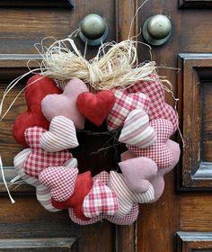 guirlanda de corações - patchwork