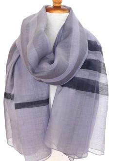Silk w wool Boardroom stripe - Violet