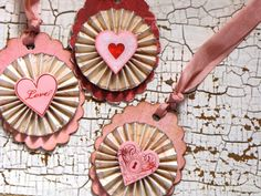 Set of three Vintage Inspired Holiday Valentines by JanieDMattern Vintage Valentines, Love Valentines, Valentine Day Cards, Valentine Crafts, Christmas Crafts, Paper Medallions, Paper Rosettes, Handmade Tags, Heart Crafts
