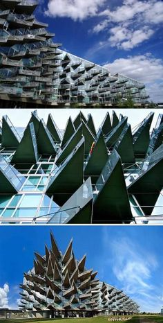 VM House is an apartment house that consists of two buildings in the shape of letters 'V' and 'M', seeming to embrace one another. They are matched in a new concept based on the rational and functional, rather than aesthetic interests. With bold triangular balconies protruding from the apartment's facade like the spikes of a hedgehog